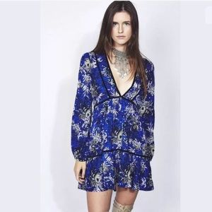 Jaase Blue Floral Peasant Tunic Flare Dress Boho